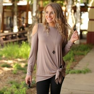 LAST ONE! Taupe Side Knot Cold Shoulder Tunic